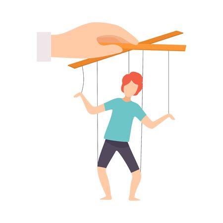 Marioneta masculina en cuerdas controladas a mano, manipulación de la ilustración de Vector de concepto de personas sobre fondo blanco.