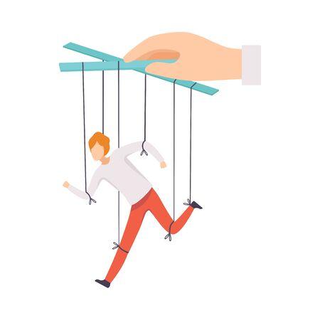 Marionetta maschio su corde controllate a mano, manipolazione del concetto di persone, manager maschio in esecuzione sotto l'illustrazione di vettore di influenza del capo su sfondo bianco.