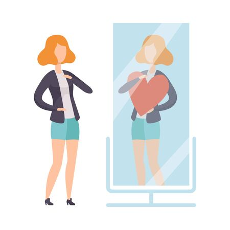 Narcissistic Woman Character Looking at Mirror and Seeing in Reflection of Herself with Red Heart, Girl Overestimate Herself, Self Confidence, Motivation Vector Illustration on White Background. Illustration