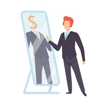 Narcissistic Man Character Looking at Mirror and Seeing Rich Successfull Man, Person Overestimate Himself, Self Confidence, Motivation Vector Illustration on White Background.