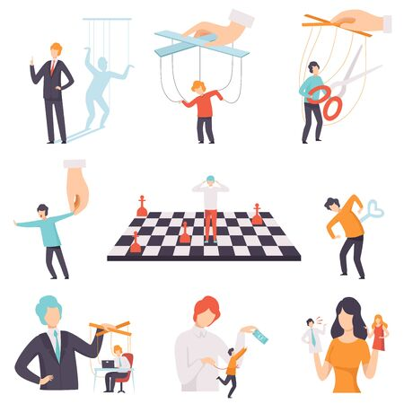 Manipulation of People Set, Marionette People on Ropes Controlled by Others Vector Illustration on White Background.