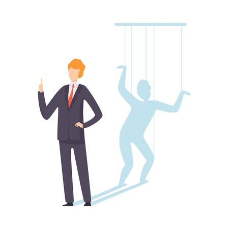 Businessman Marionette Controlled By Ropes, Manipulation of People Concept Vector Illustration on White Background. Stock Illustratie