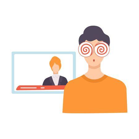 Media Zombie persona, lavaggio del cervello, controllo, manipolazione di persone concetto illustrazione vettoriale su sfondo bianco. Vettoriali