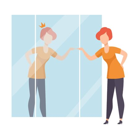 Narcissistic Woman Character Looking at Mirror and Seeing in Reflection of Herself with Crown on Her Head, Girl Overestimate Herself, Self Confidence, Motivation Vector Illustration on White Background.