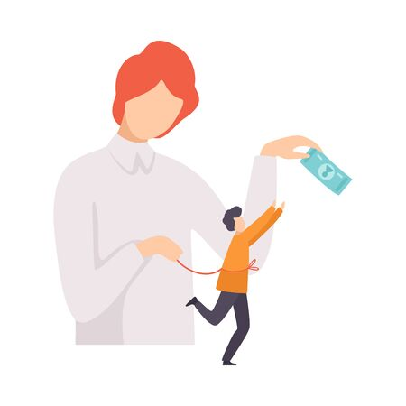 Businessman Manipulating Man with Money and Rope, Controll, Manipulation of People Concept Vector Illustration on White Background.