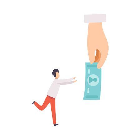 Hombre de negocios manipulando al hombre con dinero, control, manipulación de la ilustración de Vector de concepto de personas sobre fondo blanco.