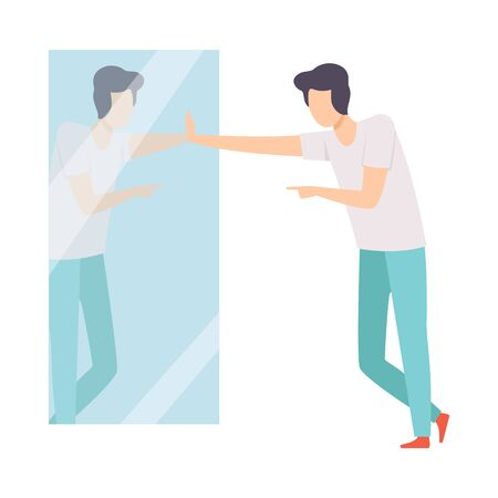 Narcissistic Man Character Looking at Mirror and Pointing Finger to Reflection, Person Overestimate Himself, Self Confidence, Motivation Vector Illustration on White Background.