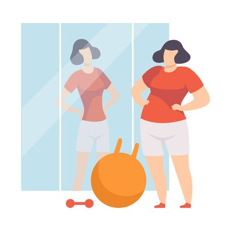 Narcissistic Woman Character Looking at Mirror and Seeing in Reflection Slim Beautiful Woman, Girl Overestimate Herself, Self Confidence, Motivation Vector Illustration on White Background.