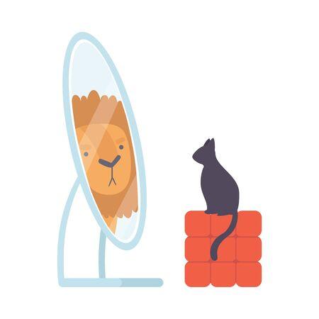 Zwarte kat die naar de spiegel kijkt, doet alsof hij een leeuw is, een vectorillustratie op een witte achtergrond.