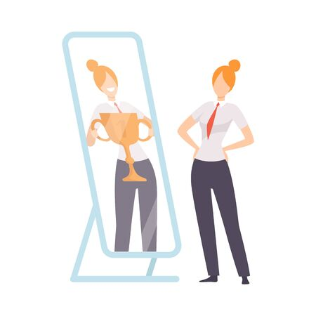 Narcissistic Woman Character Looking at Mirror and Seeing in Reflection of Herself with Winner Cup, Girl Overestimate Herself, Self Confidence, Motivation Vector Illustration on White Background.