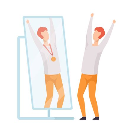Narcissistic Man Character Looking at Mirror and Seeing in Reflection of Himself with Gold Medal, Person Overestimate Himself, Self Confidence, Motivation Vector Illustration on White Background.