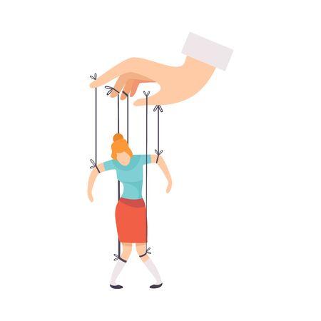 Marioneta femenina sobre cuerdas controladas a mano, manipulación de la ilustración de vector de concepto de personas sobre fondo blanco.