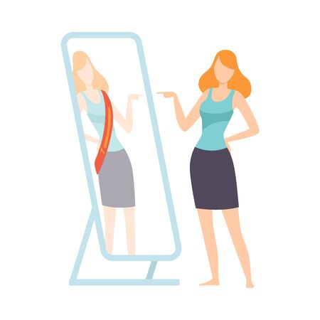 Narcissistic Woman Character Looking at Mirror Pretend to Be Successfull, Girl Overestimate Herself, Self Confidence, Motivation Vector Illustration on White Background.