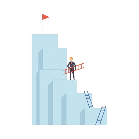 Businessman Moving Up Stairway to the Top of Mountain, Business and Career Development Vector Illustration on White Background.