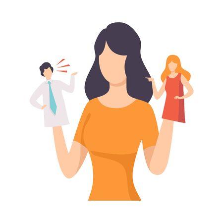 Giovane donna che manipola persone come burattini, persone controllate da burattinaio illustrazione vettoriale su sfondo bianco.