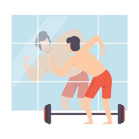Carácter de hombre narcisista mirando el espejo y ver a atleta atractivo muscular, persona se sobreestima a sí mismo, la confianza en sí mismo, la motivación Vector ilustración sobre fondo blanco.