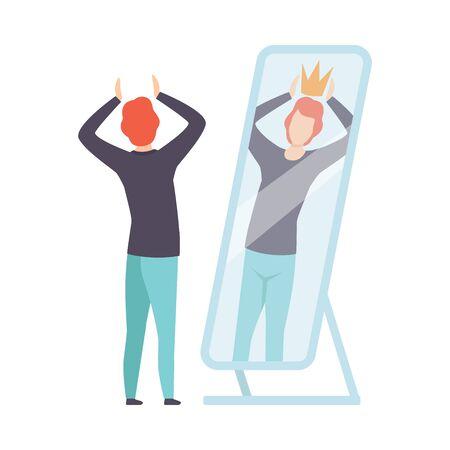 Carácter de hombre narcisista mirando al espejo y viendo en el reflejo de sí mismo con la corona en la cabeza, la persona se sobreestima a sí misma, la confianza en sí mismo, la motivación Vector ilustración sobre fondo blanco. Ilustración de vector