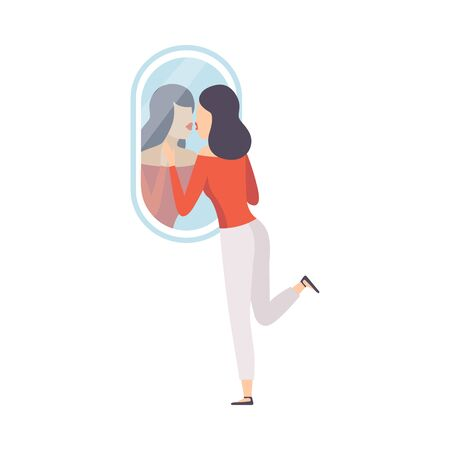Narcissistic Woman Character Looking at Mirror and Kissing Her Reflection in Mirror, Girl Overestimate Herself, Self Confidence, Motivation Vector Illustration on White Background.