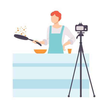 Man Cooking at Kitchen and Recording Video on Camera, Male Food Blogger Creating Content about His Hobby and Posting It on Social Media Vector Illustration on White Background.