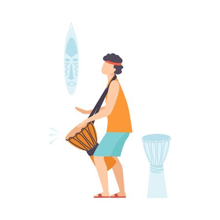 Young Man Playing Ethnic Drum, Guy Playing Djembe Vector Illustration on White Background.