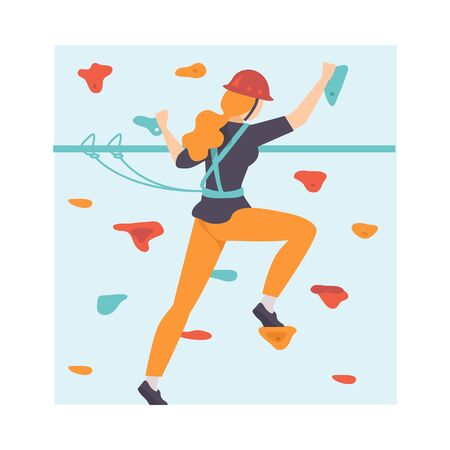 Young Woman Scaling Wall, Woman Climbing in Adventure Park, Hobby, Extreme Sports Vector Illustration on White Background.