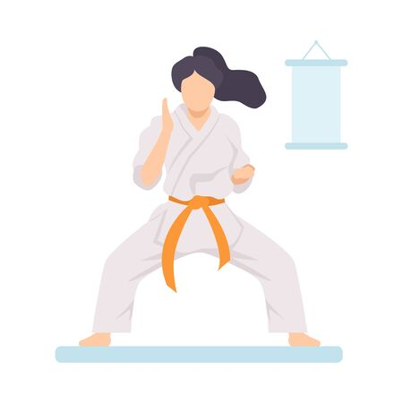 Girl in White Kimono with Orange Belt Doing Karate Vector Illustration on White Background.