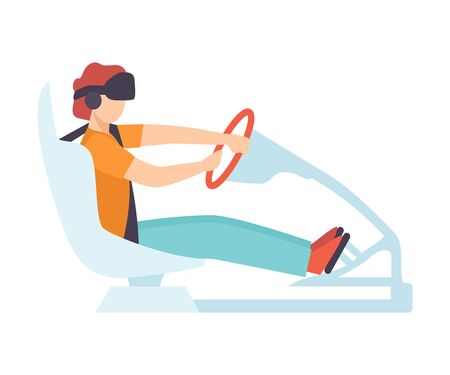 Man Driving Car Wearing Virtual Reality Digital Glasses, Guy Using Advanced Technology to Imitate Road with Driver Simulator Vector Illustration on White Background.