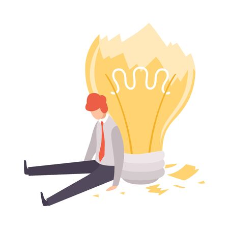 Overworked, Man Sitting with Broken Light Bulb, Brainstorming, Innovation, Creativity Concept Vector Illustration on White Background.