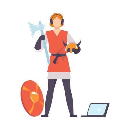 Ancient Warrior with Weapon and Laptop, Historical Reconstruction Concept Vector Illustration on White Background.