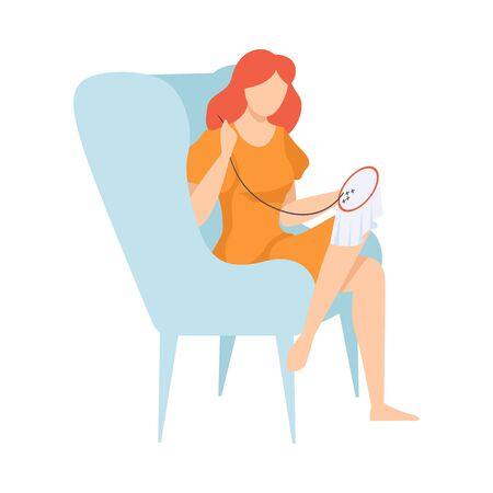 Young Woman Sitting in Armchair and Embroidering on Canvas, Hobby, Needlework Vector Illustration on White Background.