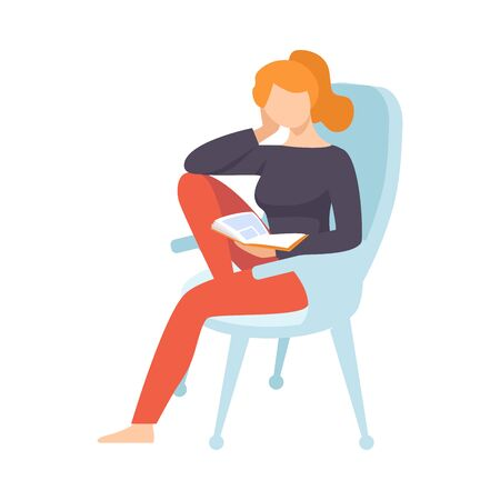 Young Woman Sitting in Armchair and Reading Book Vector Illustration