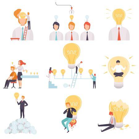 Hommes d'affaires avec jeu d'ampoules, gens d'affaires ayant, recherchant et partageant de bonnes idées, remue-méninges, innovation, concept de pensée créative Illustration vectorielle sur fond blanc.