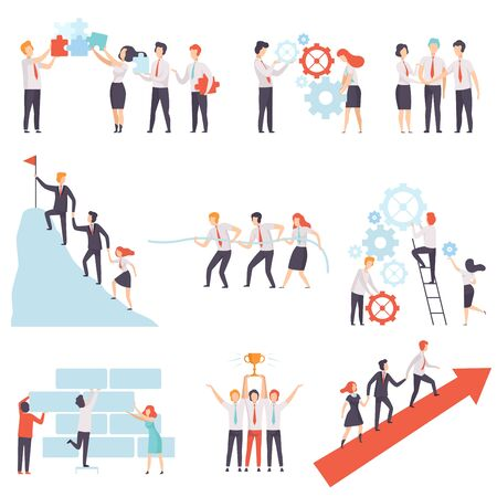 Office Colleagues Working Together Set, Successful Business Team, Teamwork, Cooperation, Partnership Vector Illustration on White Background.