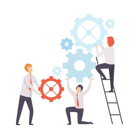 Business Team, Office Colleagues Launching Mechanism, People Working Together in Company, Teamwork, Cooperation, Partnership Vector Illustration on White Background.