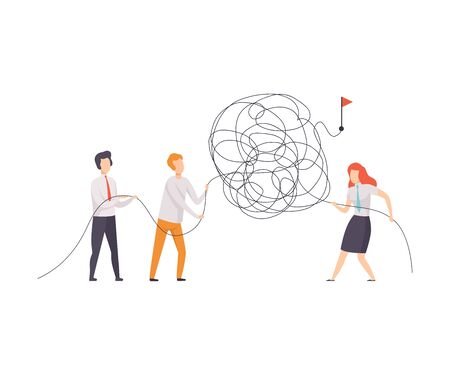Business Team Searching for Ways to Success Symbol, Office Colleagues Solving Complicated Problem, Teamwork, Cooperation, Partnership Vector Illustration on White Background. Ilustração Vetorial