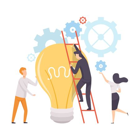 Office Colleagues Working at New Project, Man Climbing Ladder to Big Burning Light Bulb, Teamwork, Brainstorming, Innovation, Creativie Thinking Concept Vector Illustration on White Background.