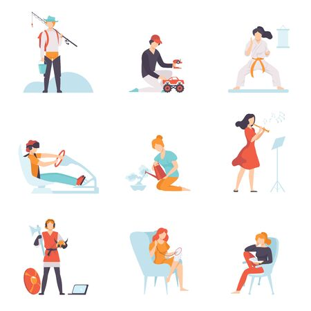 People Enjoying Various Hobbies Set, People Fishing, Driving Car, Doing Karate, Playing Flute, Reading Book, Embroidering Vector Illustration on White Background. Stock Illustratie