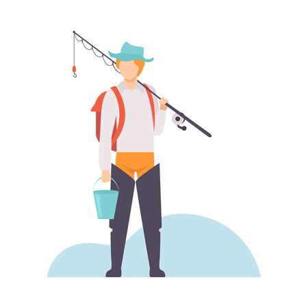 Fisherman with Backpack Standing with Bucket and Fishing Rod Vector Illustration on White Background.
