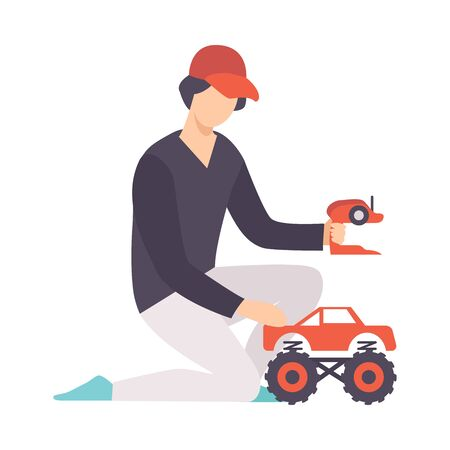Young Man playing with Radio Controlled Car, Guy Holding Remote Control Olaying with Electric Car Vector Illustration on White Background. Stock Illustratie