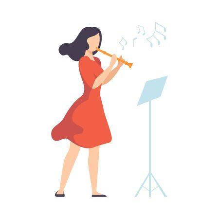 Donna in abito rosso suonare il flauto illustrazione vettoriale su sfondo bianco. Vettoriali