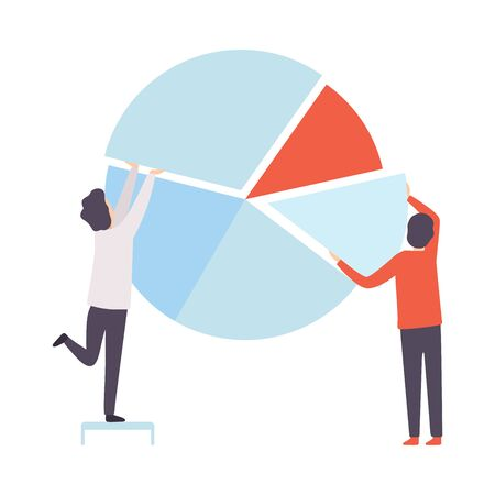 Business Team, Office Colleagues Building Pie Chart, People Working Together in Company, Teamwork, Cooperation, Partnership Vector Illustration on White Background. Stock Illustratie