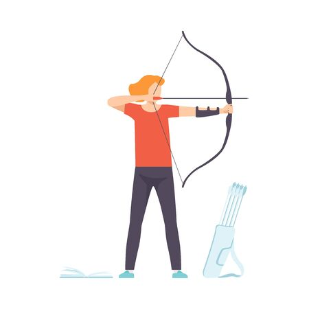 Male Archer Standing with Bow and Aiming to Target, Hobby, Active Sport Lifestyle Vector Illustration on White Background.