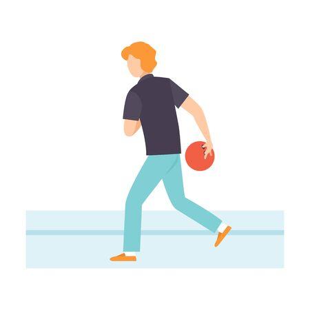 Mann wirft Bowlingkugel, männlicher Bowler, der Bowling-Vektor-Illustration auf weißem Hintergrund spielt.