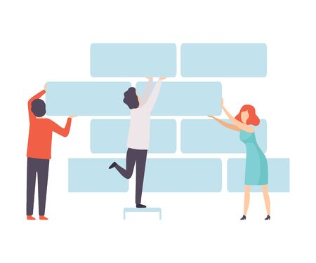 Business Team, Office Colleagues Supporting Brick Wall, People Working Together in Company, Teamwork, Cooperation, Partnership Vector Illustration on White Background. Stock fotó - 128165265