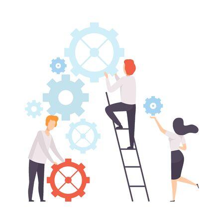 Equipo de negocios, colegas de oficina que construyen el mecanismo, personas que trabajan juntas en la empresa, trabajo en equipo, cooperación, asociación, ilustración vectorial sobre fondo blanco.