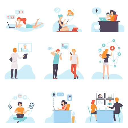 People Communicating Via Internet with Mobile Devices Set, Young Men and Women Chatting, Purchasing, Meeting, Discussing, Writing Emails, Social Networking Vector Illustration on White Background.