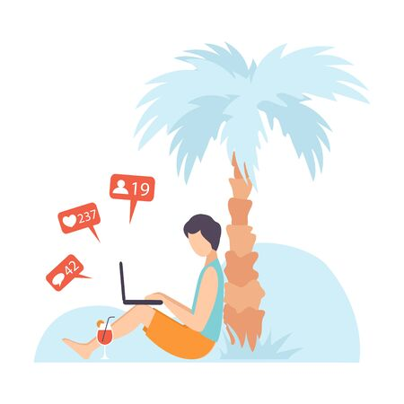 Young Man Sitting Under Palm Tree and Communicating Via Internet Using Mobile Devices, Guy Chatting, Writing Emails or Searching for Information Social Networking Vector Illustration