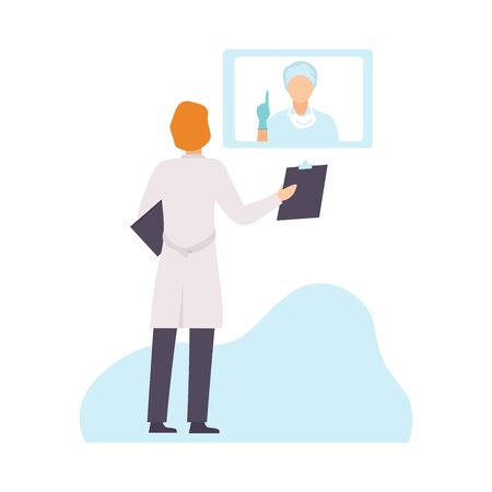 Two Male Doctors in Uniform Communicating and Discussing Health Care Onliine, Healthcare Diagnostic, Medical Treatment, People Communicating Via Internet Vector Illustration on White Background. 向量圖像