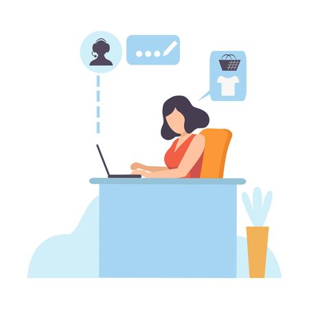 Young Woman Working with Laptop, Online Shopping, Girl Using Computer for Purchasing at Mobile Store Vector Illustration on White Background.