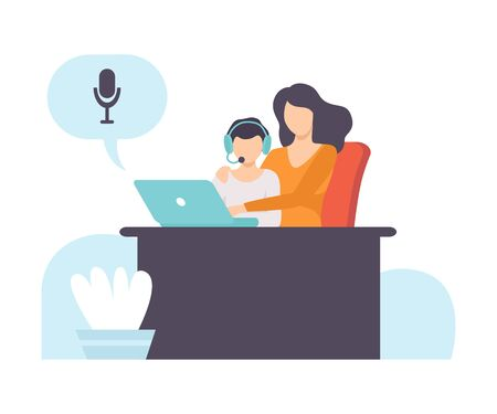 Boy and His Mother Talking Online Using Web Camera and Headphones, Distant Education Courses, Social Networking, People Communicating Via Internet Vector Illustration on White Background.